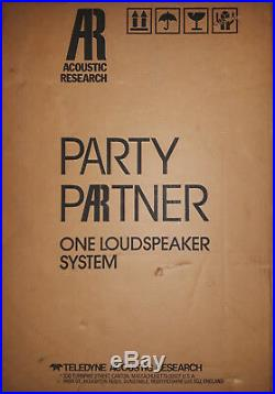 Acoustic Research 2-Way Party Partner One Loudspeaker System (Brand New!)