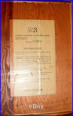 Acoustic Research AR 3 2nd Earliest Pair In Existence C0016 C0138 Read Desc