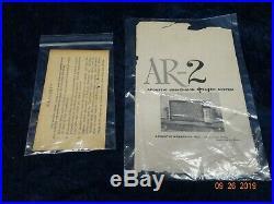 Original Vintage Pair Of Acoustic Research Ar2 Speakers Birch